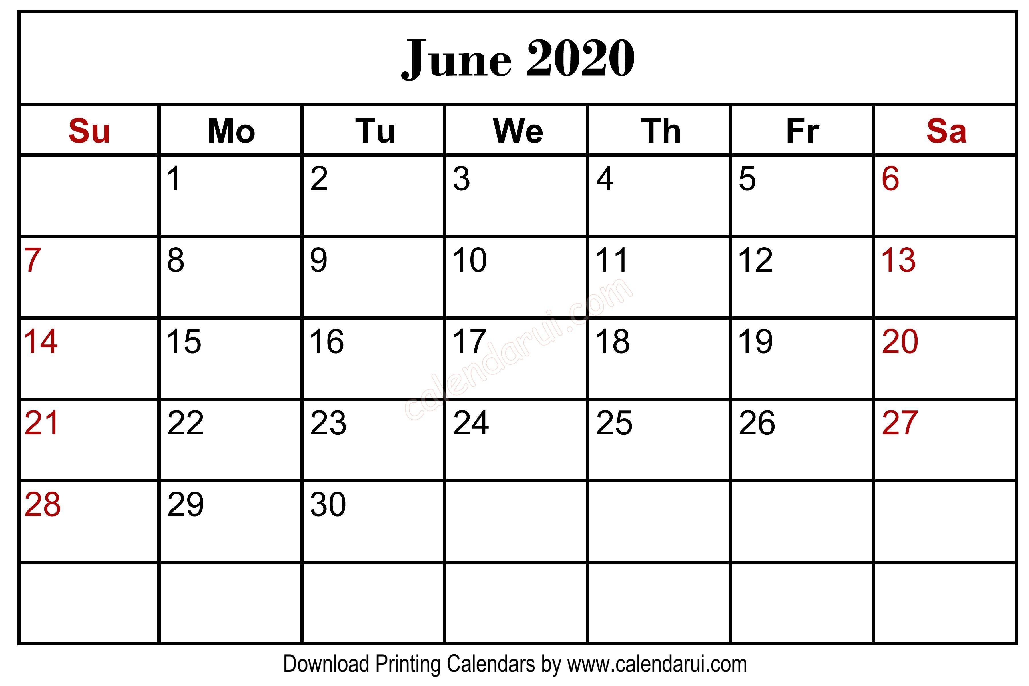 Printable Calendar with Holidays 2020 Homepage 2020 Calendar June 2020 Blank Calendar