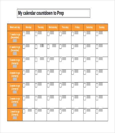 Printable Countdown Calendar Template