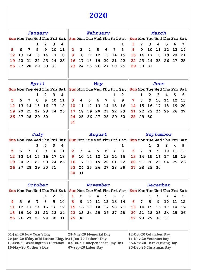 Printable Free Calendar 2020 2020 E Page Calendar Printable