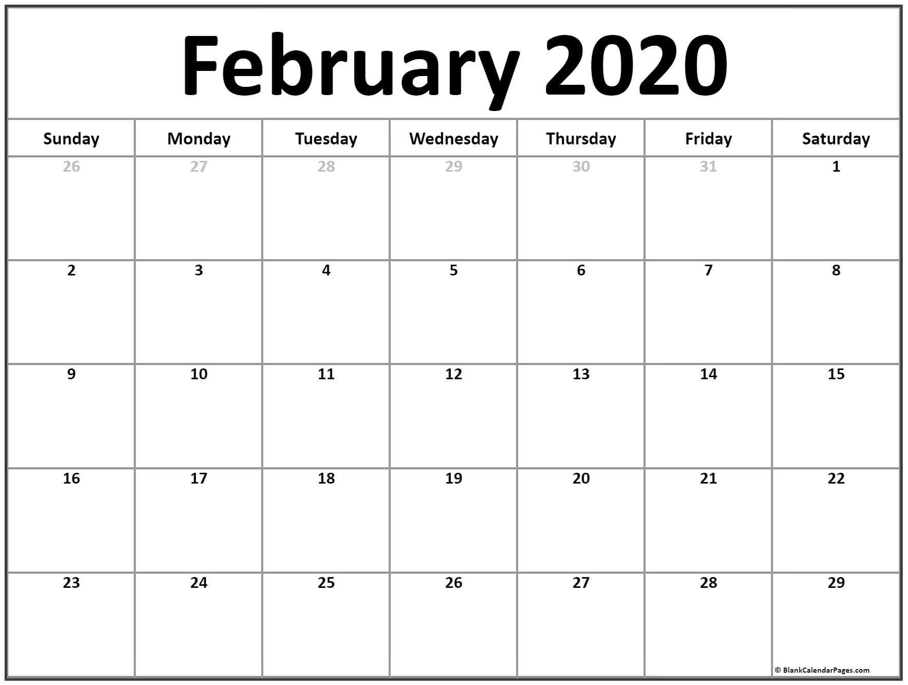 Printable Free Calendar 2020 February 2020 Calendar