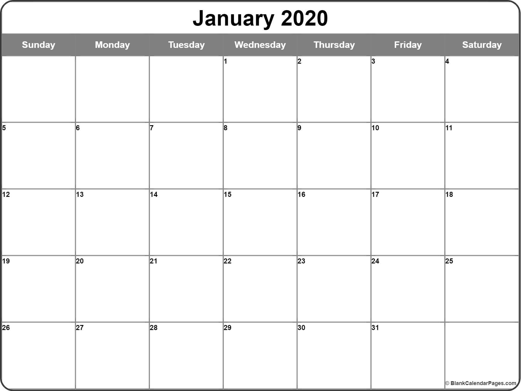 Printable January 2020 Calendar January 2020 Calendar