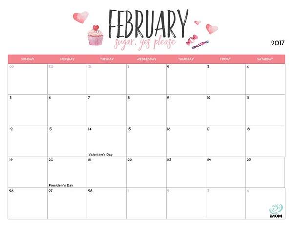 2017 Printable Calendar for Moms iMom