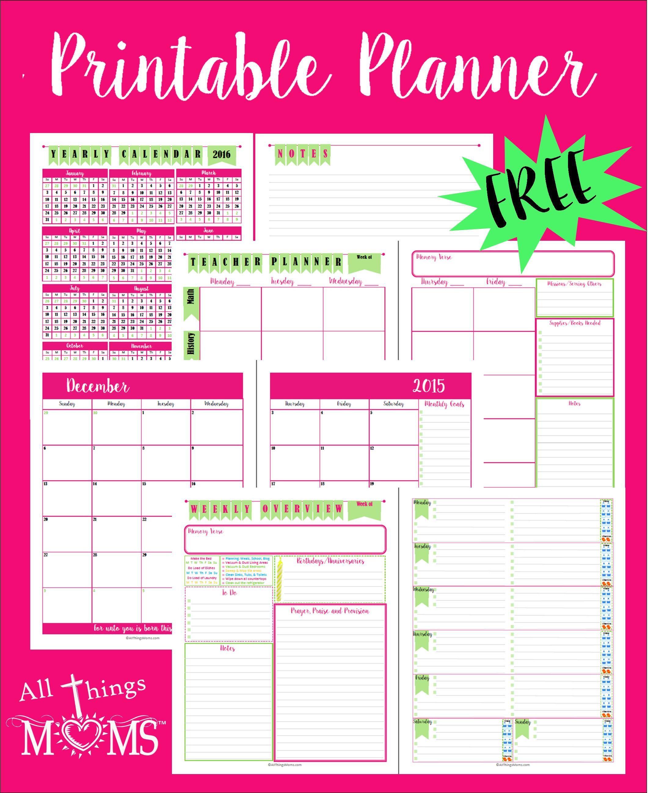 Printable Planner All Things Moms
