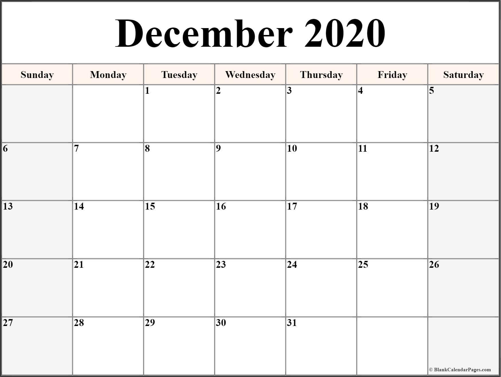 Printable Month Calendar 2020 December 2020 Calendar