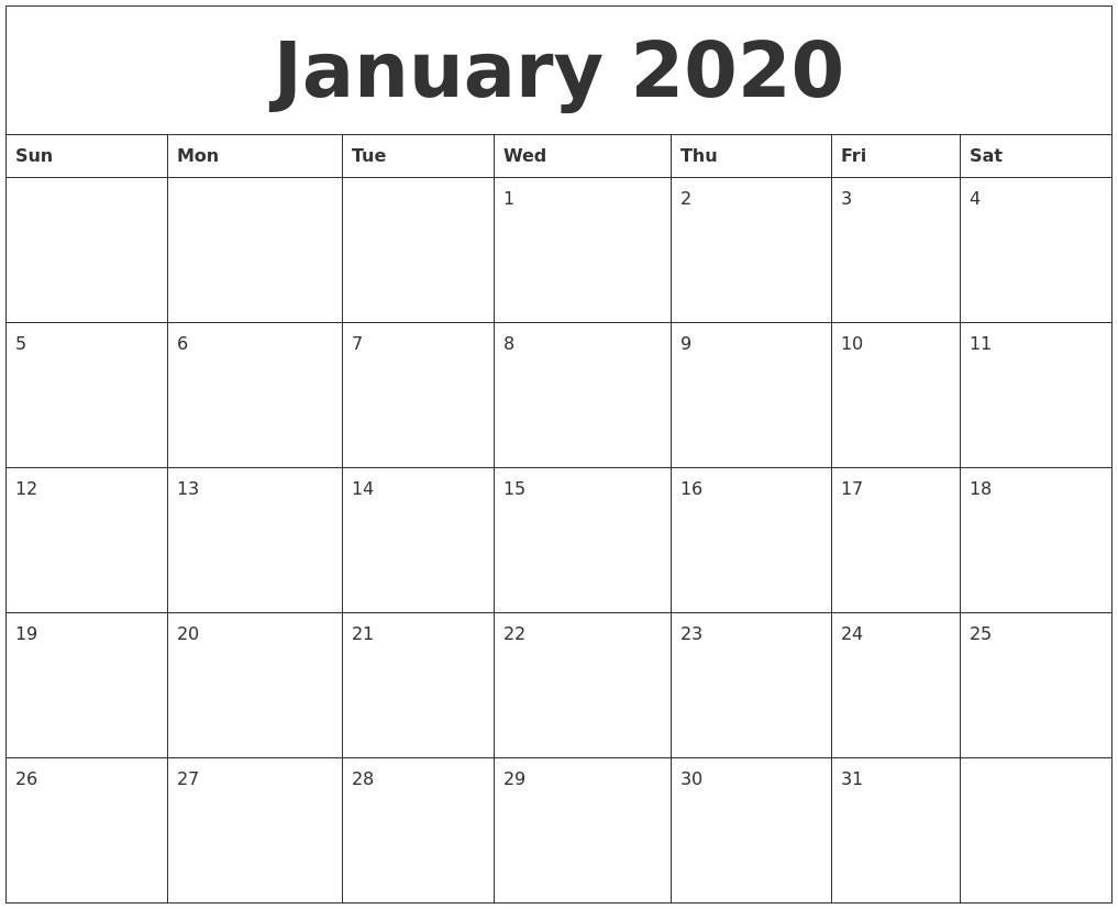 Printable Month Calendar 2020 January 2020 Free Printable Monthly Calendar