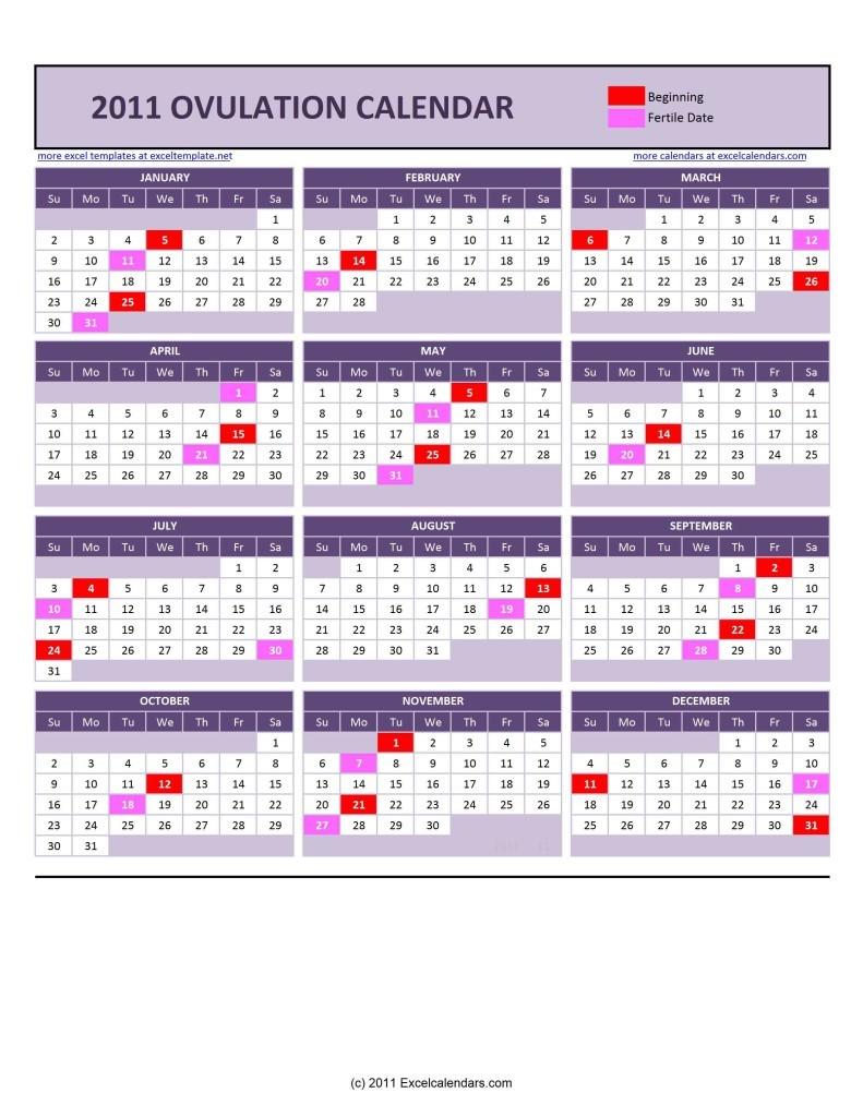 Printable Ovulation Calendar