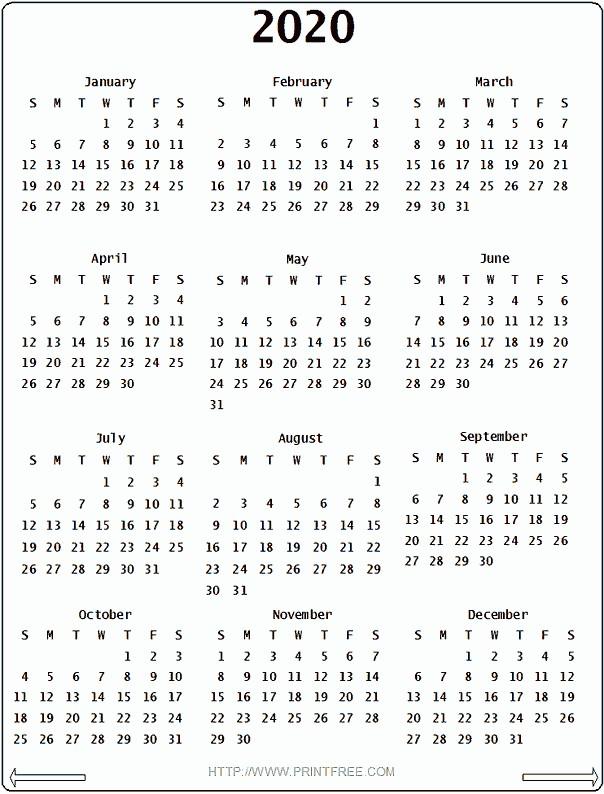 Printable Yearly Calendars 2020 2020 Calendar