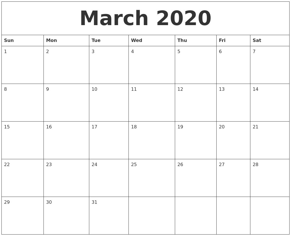 March 2020 Word Calendar