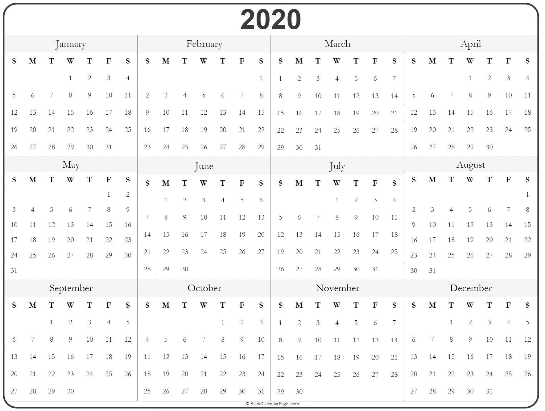 Yearly Calendar 2020 Free Printable
