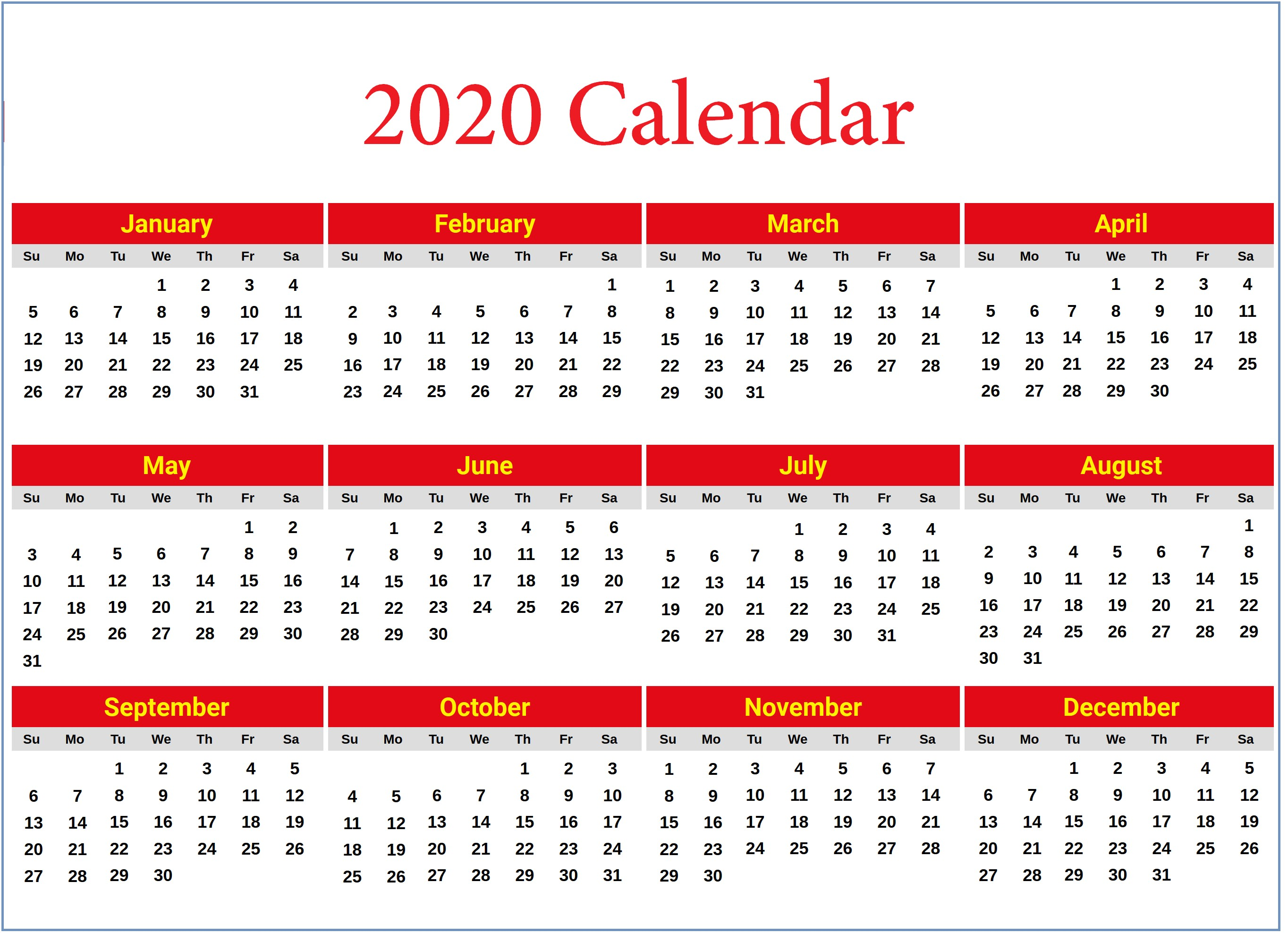 Yearly Calendar Printable 2020 2020 Yearly Calendar Printable