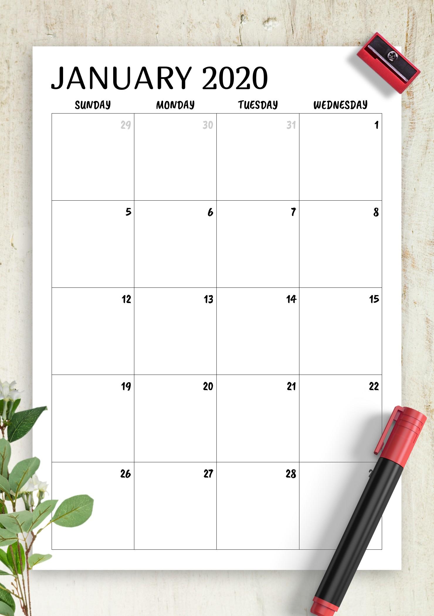 Download Printable Minimal monthly calendar PDF