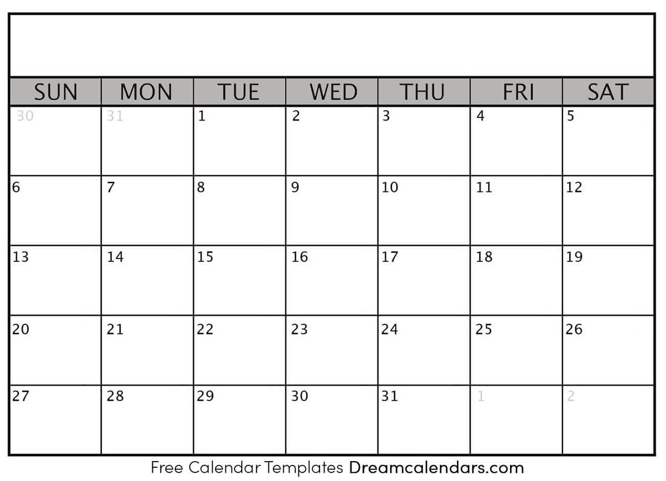 Printable Blank Calendar 2021