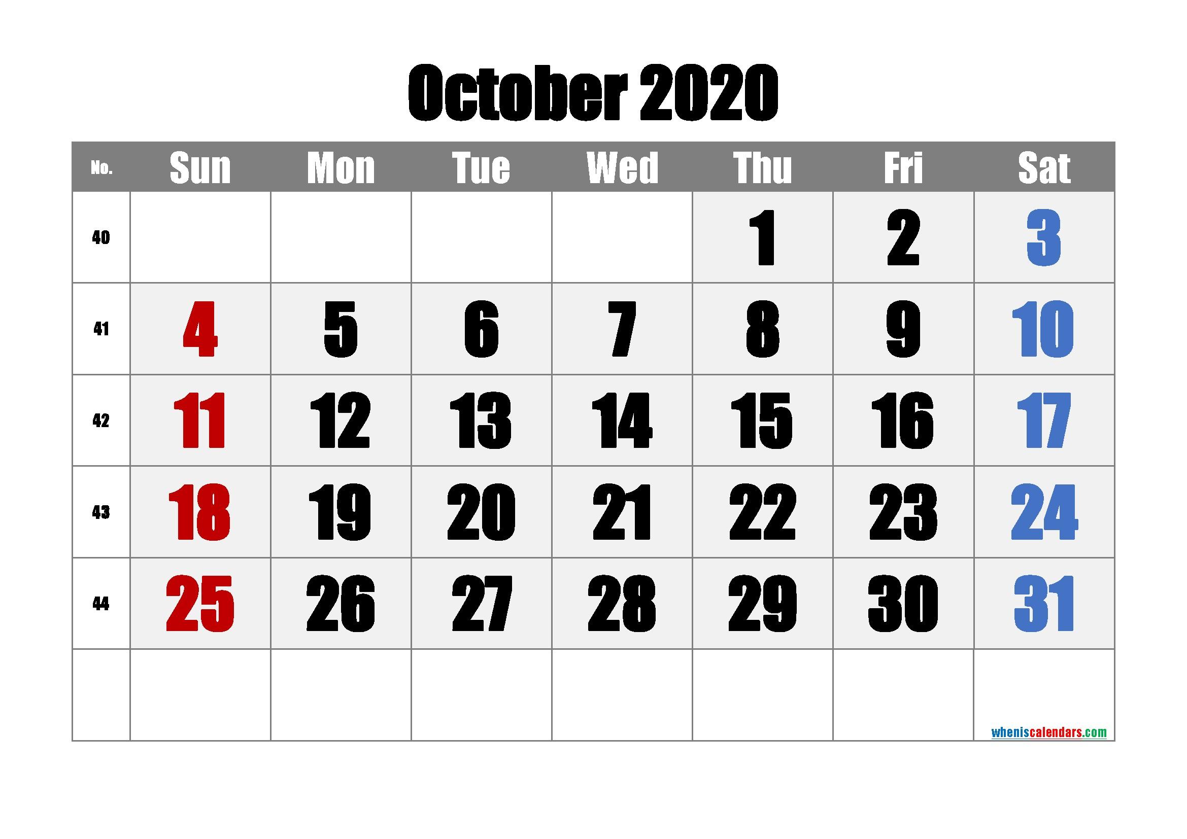Free Printable Calendar 2020 October [Free Premium]