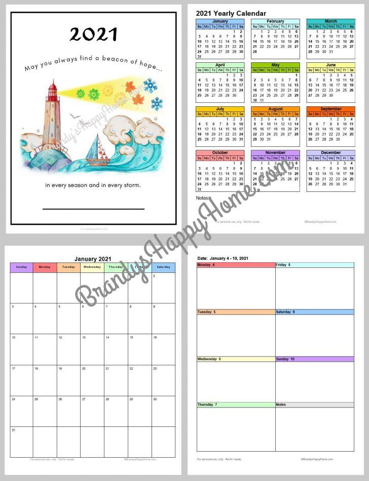 2021 Calendar Printable Academic Calendars Full Page