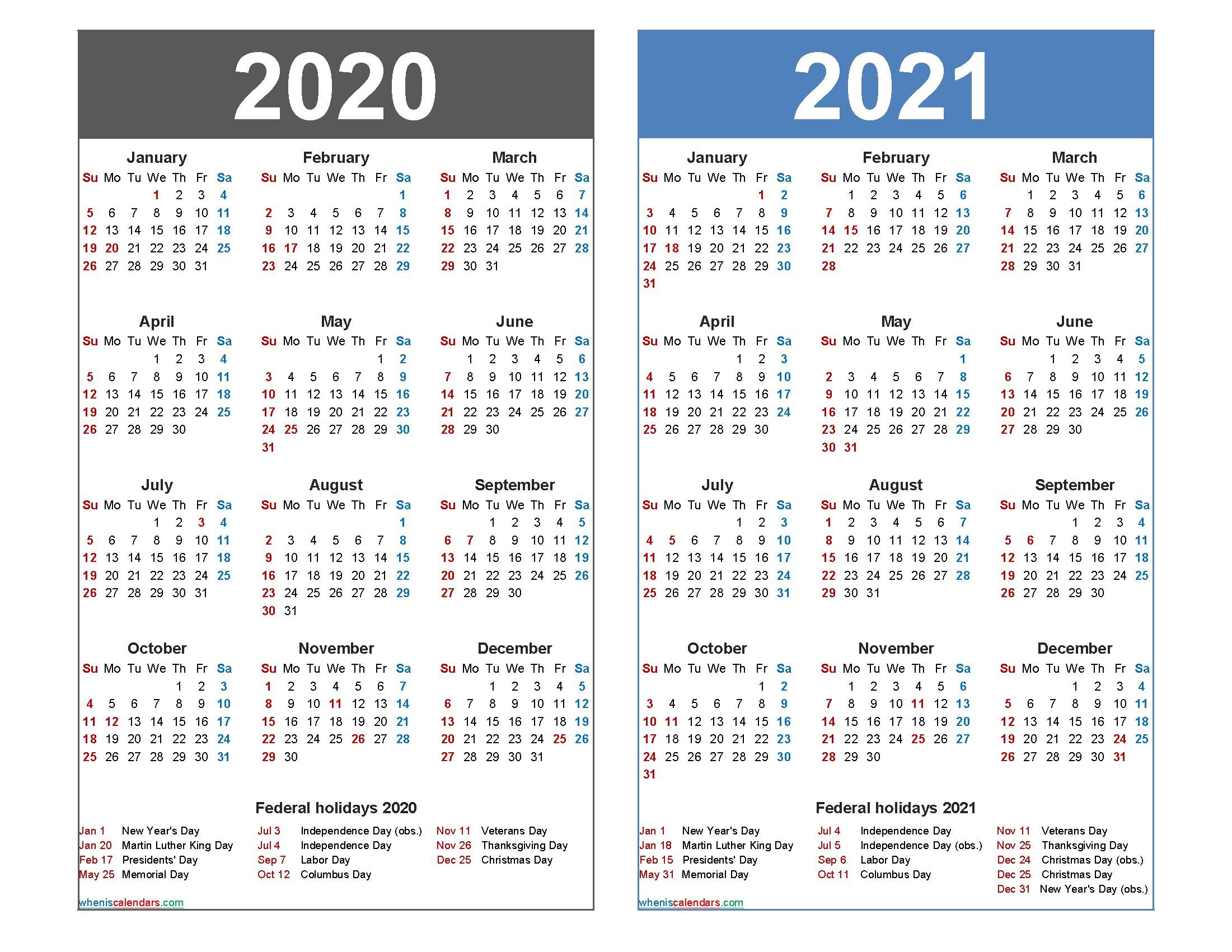 2020 and 2021 Calendar Printable Word PDF – Free Printable