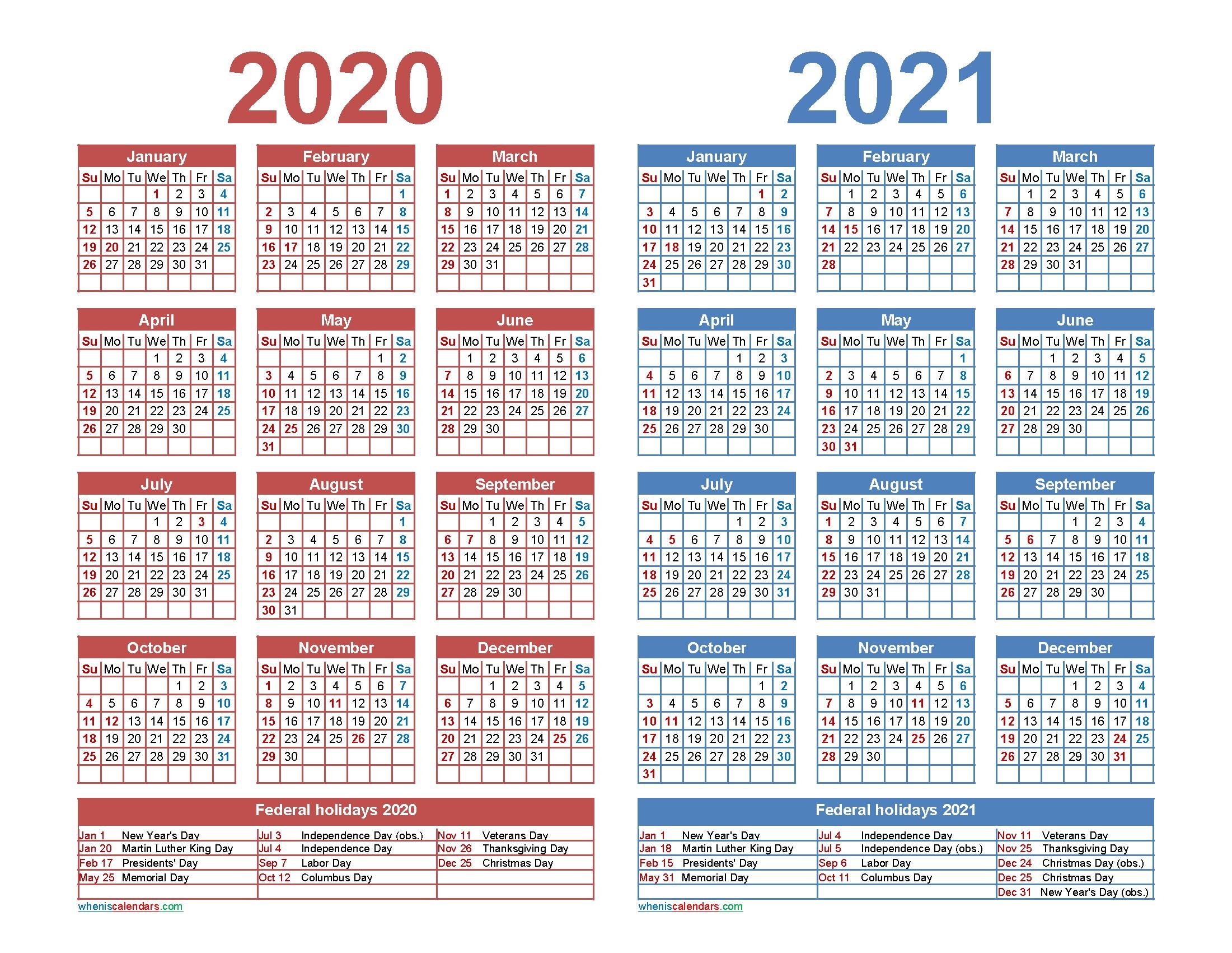 Free 2020 and 2021 Calendar Printable Word PDF – Free