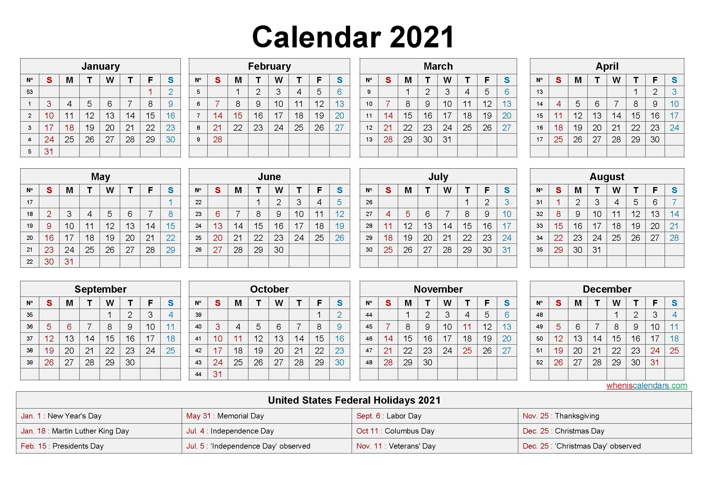 2021 Calendar Printable Word Free for Time Saving