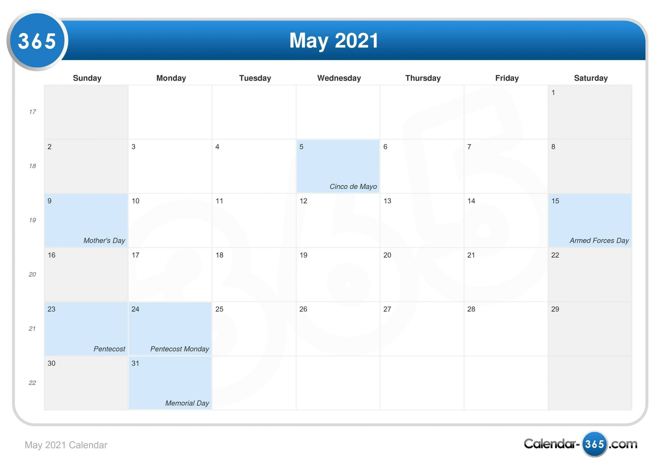 2021 Calendar with Holidays Printable 365 Days