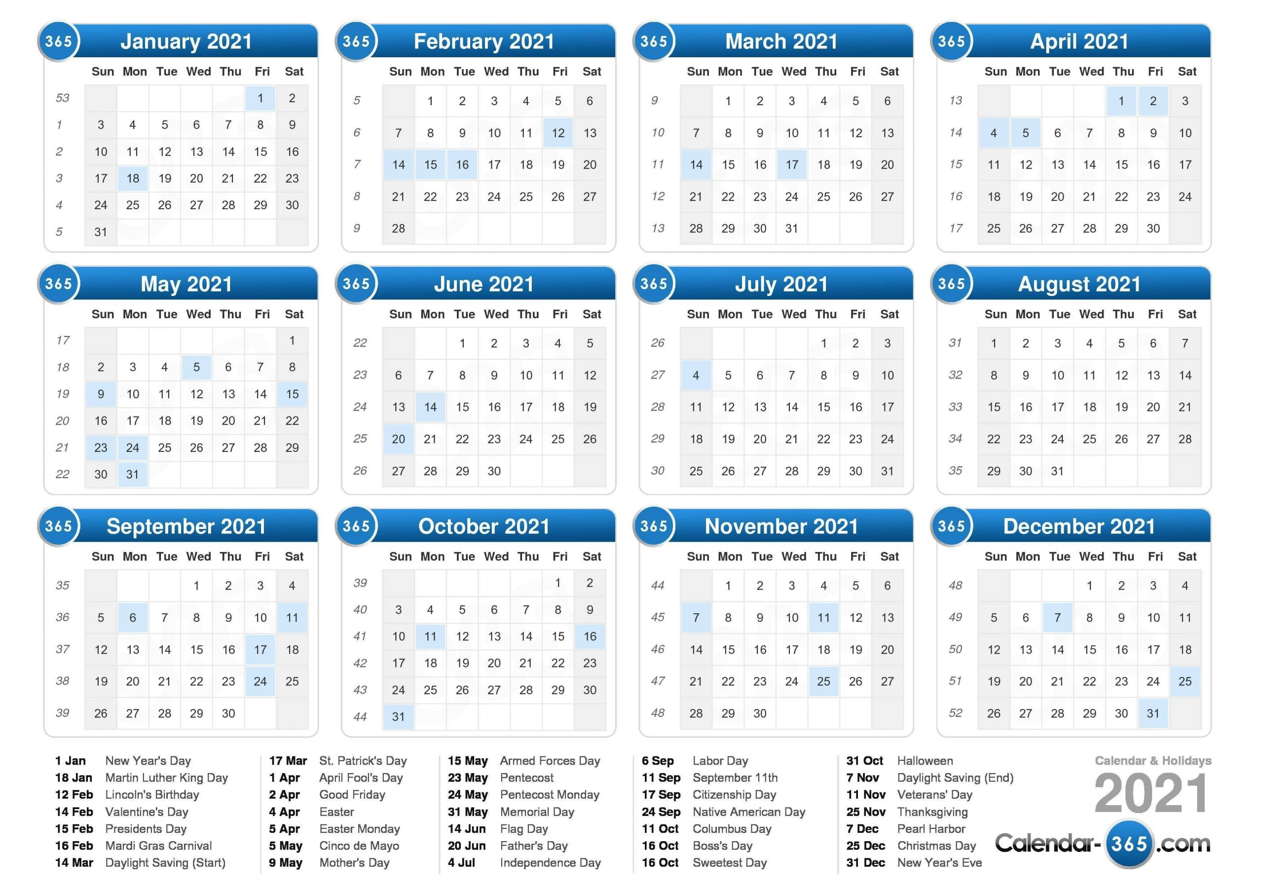 2021 Calendar with Week Numbers Free 365 Days