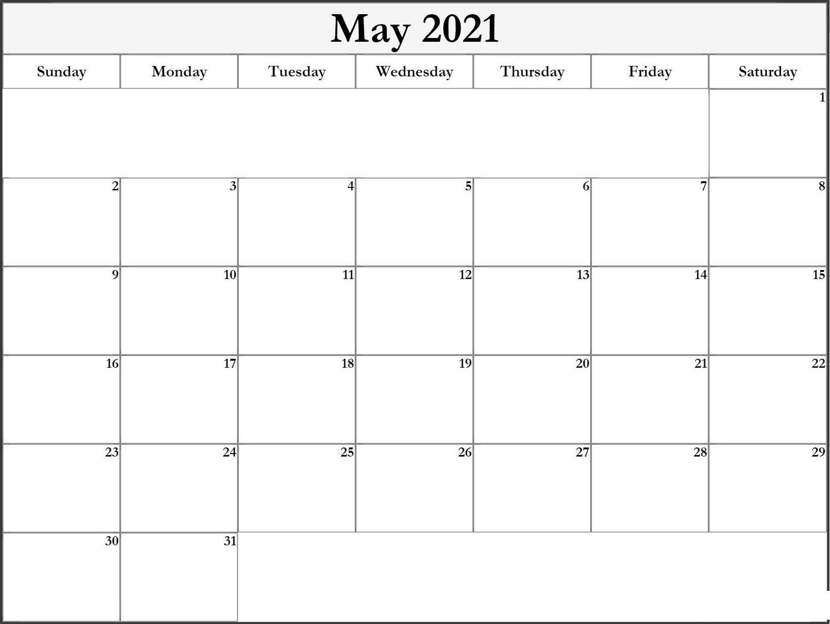 Printable Monthly Calendar 2021 Big Font Free Usage