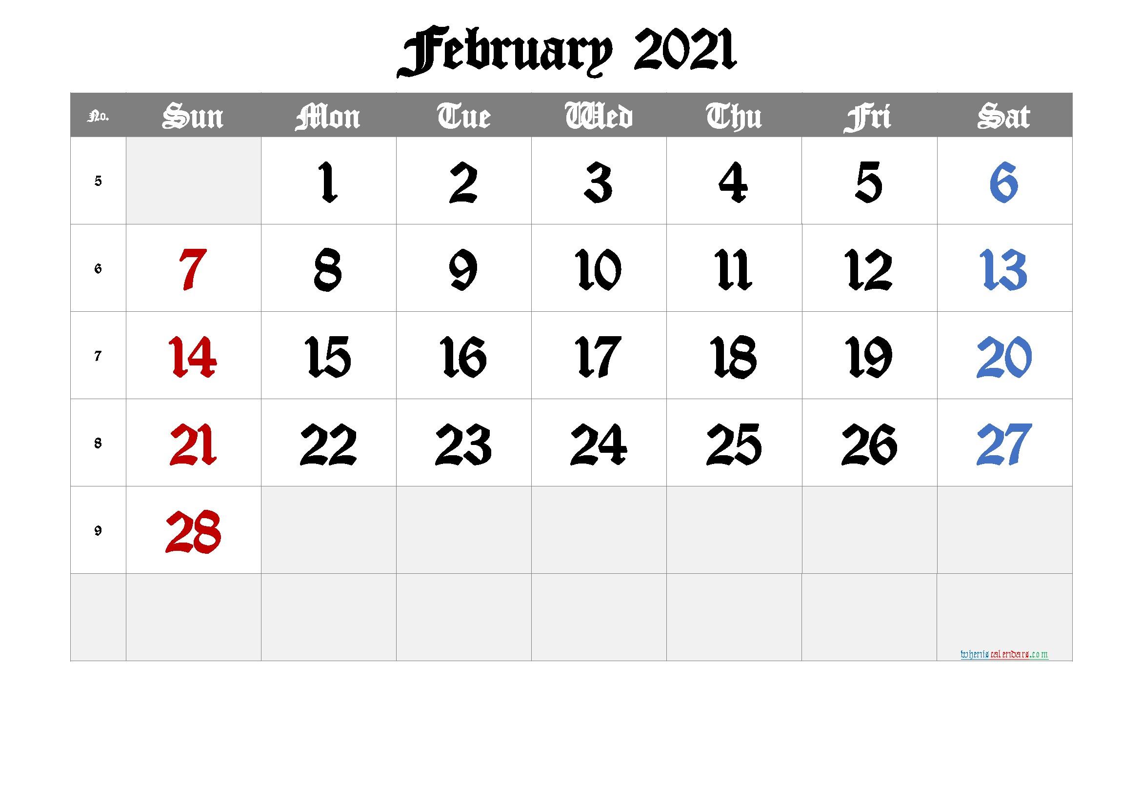 2021 February Free Printable Calendar [Free Premium] in 2020