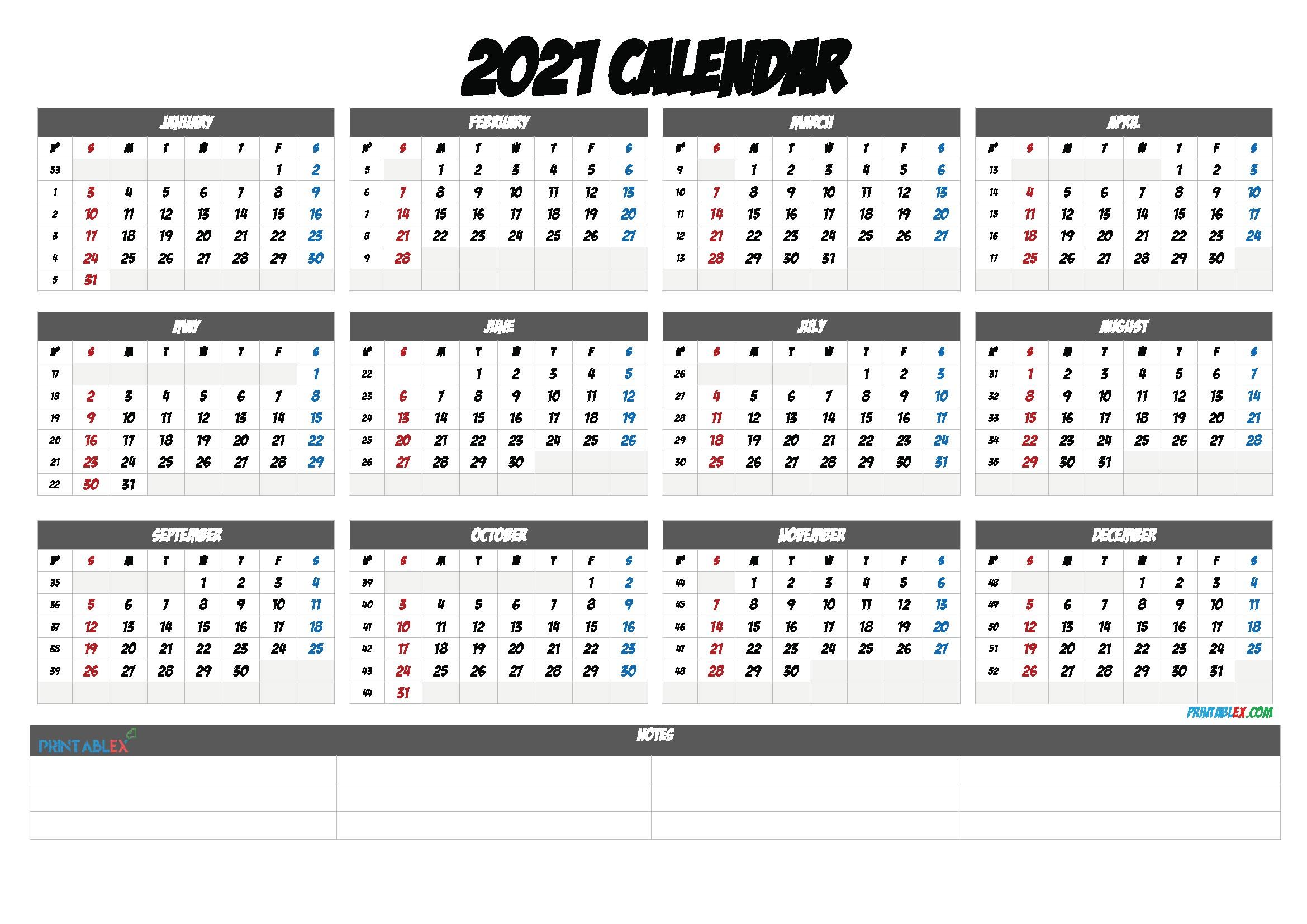 2021 Yearly Calendar Template Printable