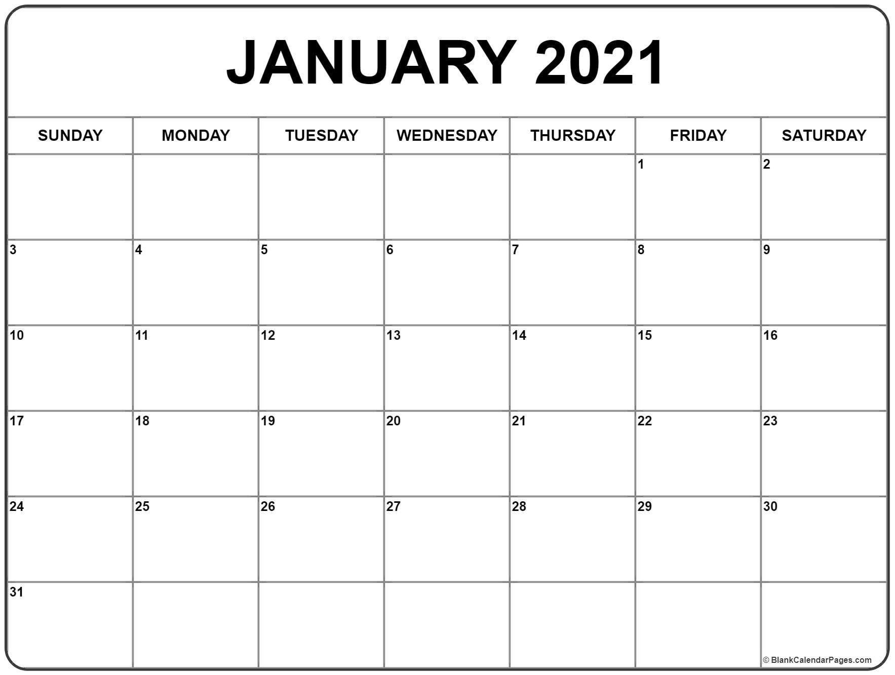 Printable January 2021 Calendar in 2020