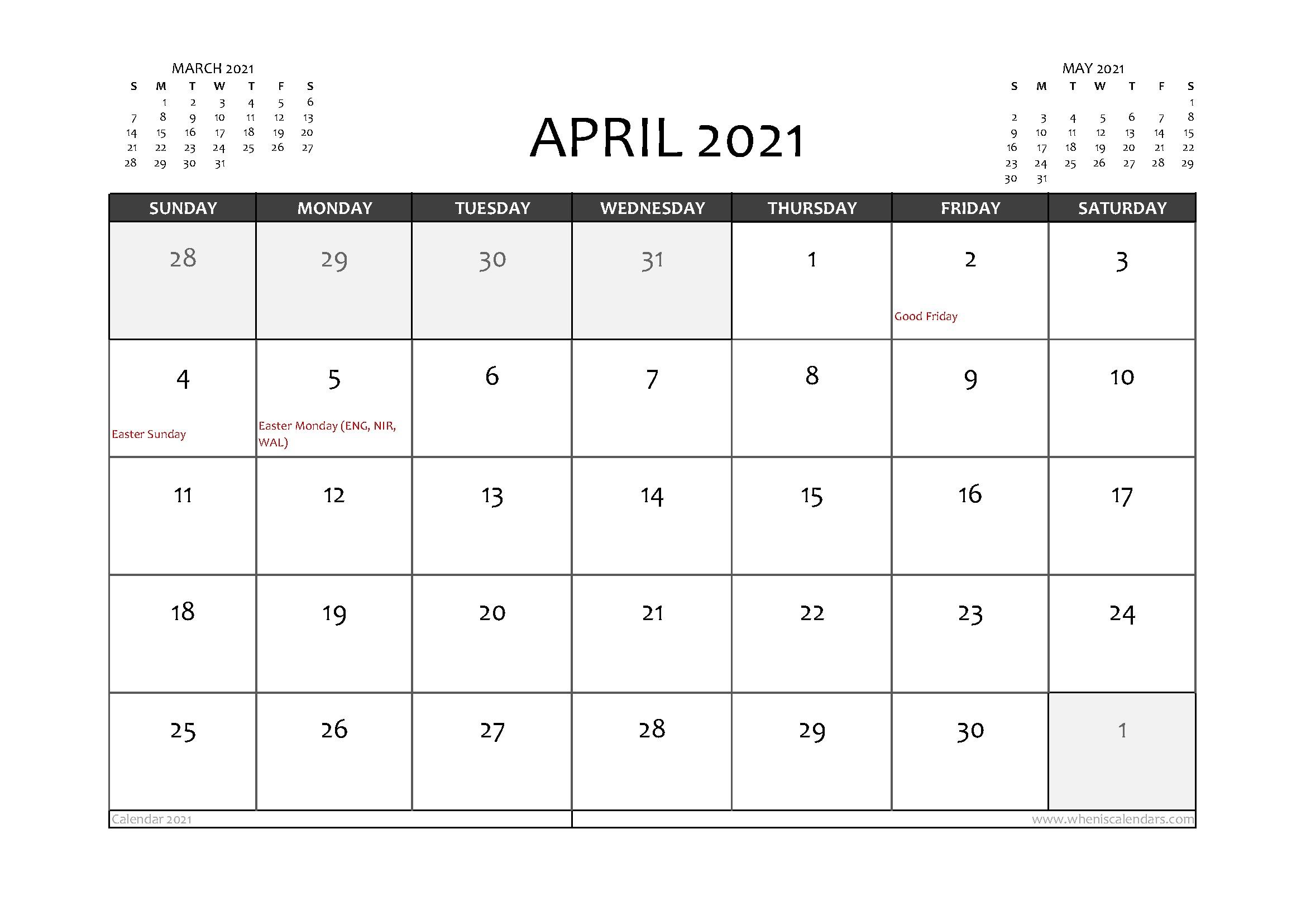 Free Printable April 2021 Calendar UK in 2020