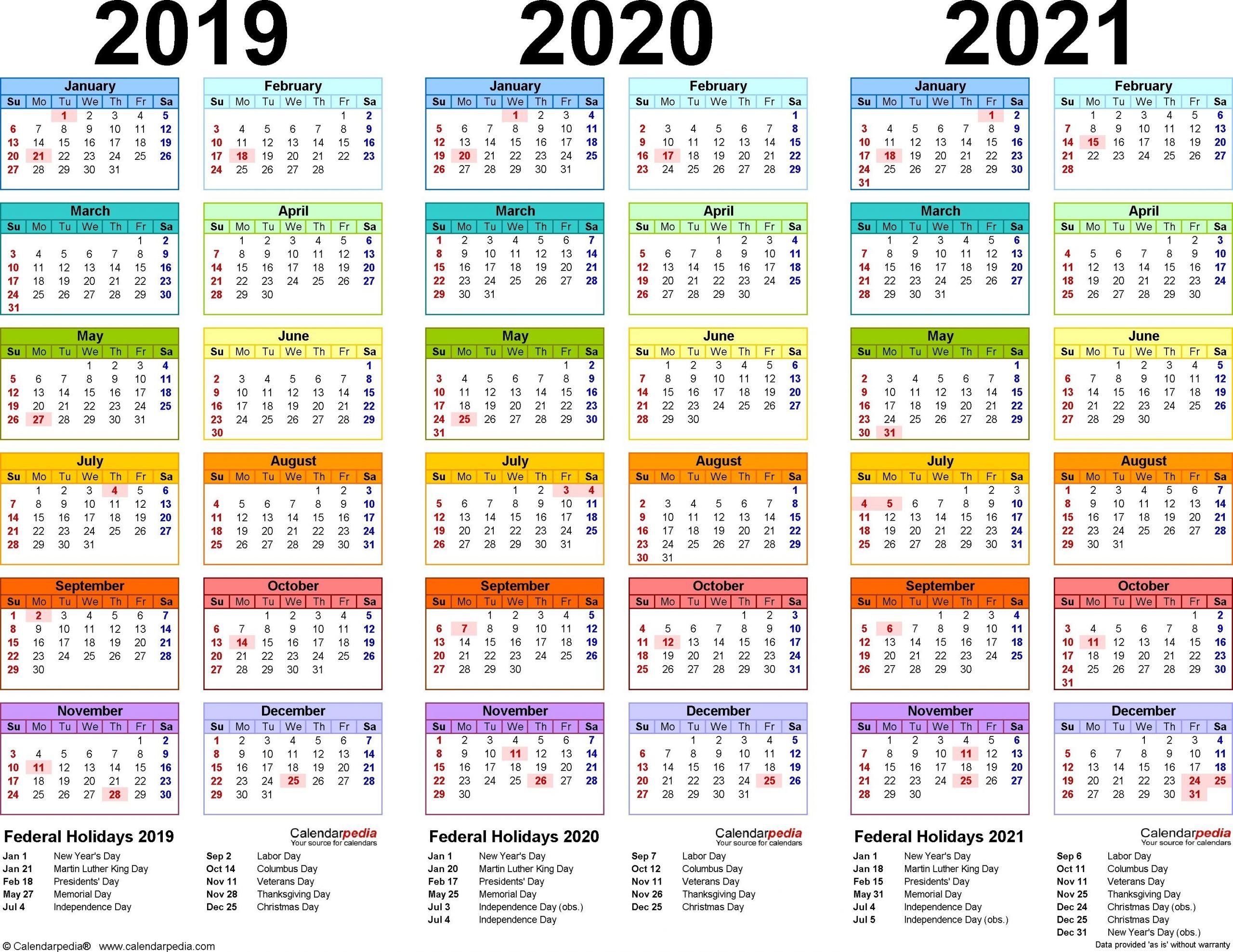 2019 2020 2021 Calendar 4 Three Year Printable Pdf