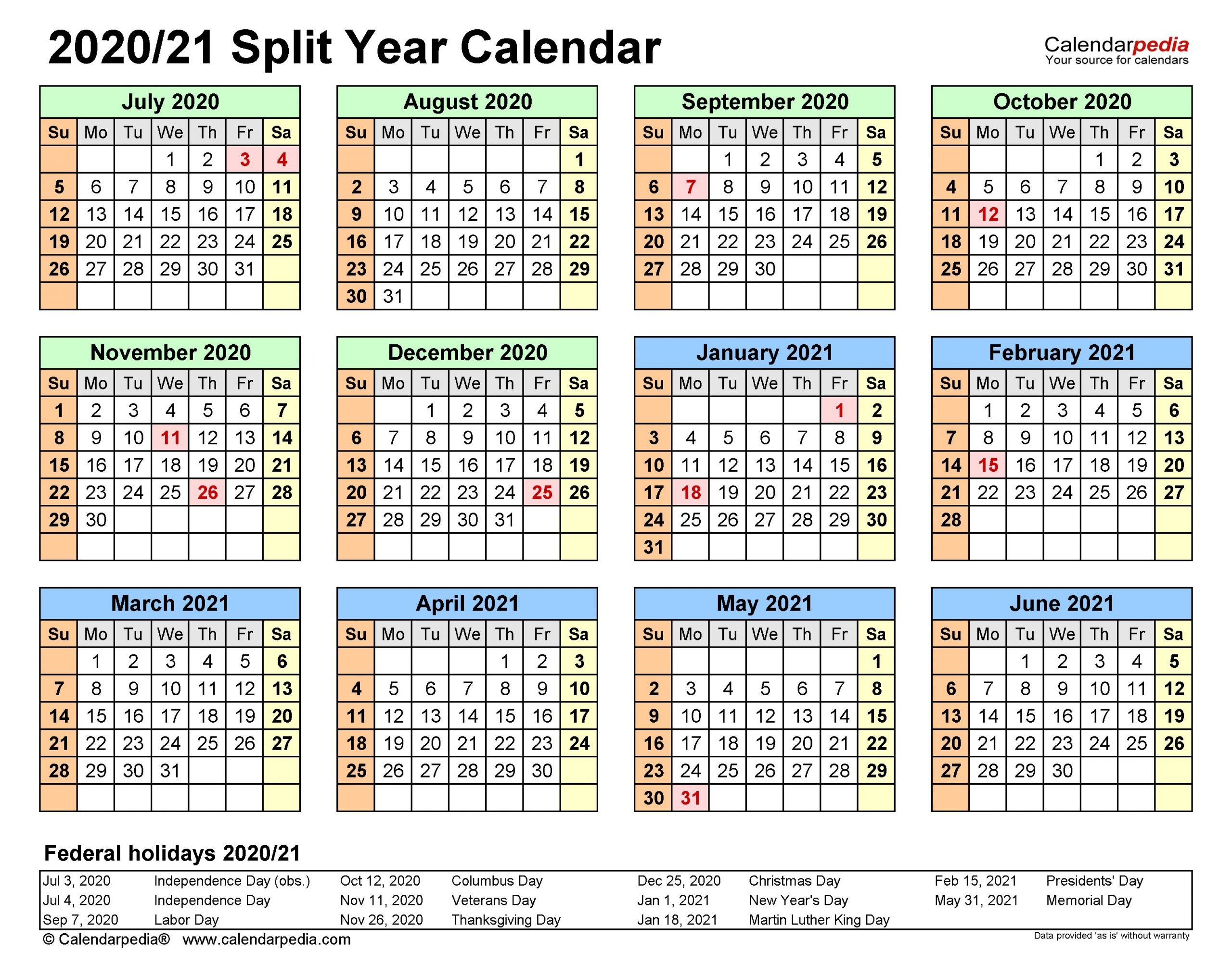 Split Year Calendars 2020 2021 July to June Excel templates