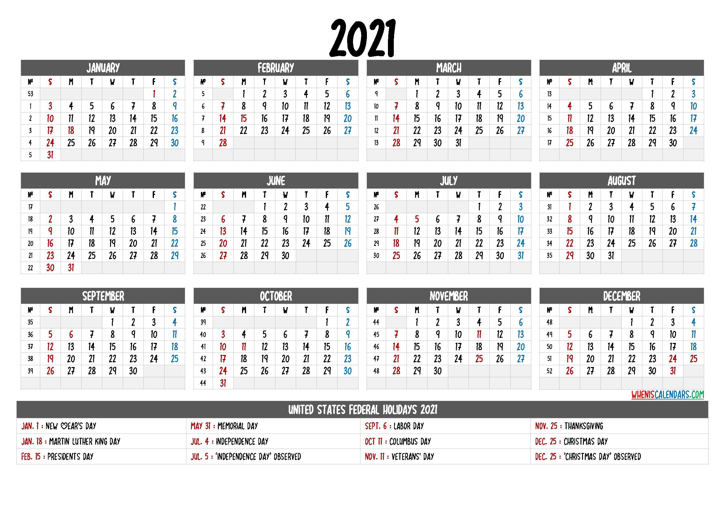 Free Printable Calendar 2021 with Holidays – 12 Templates