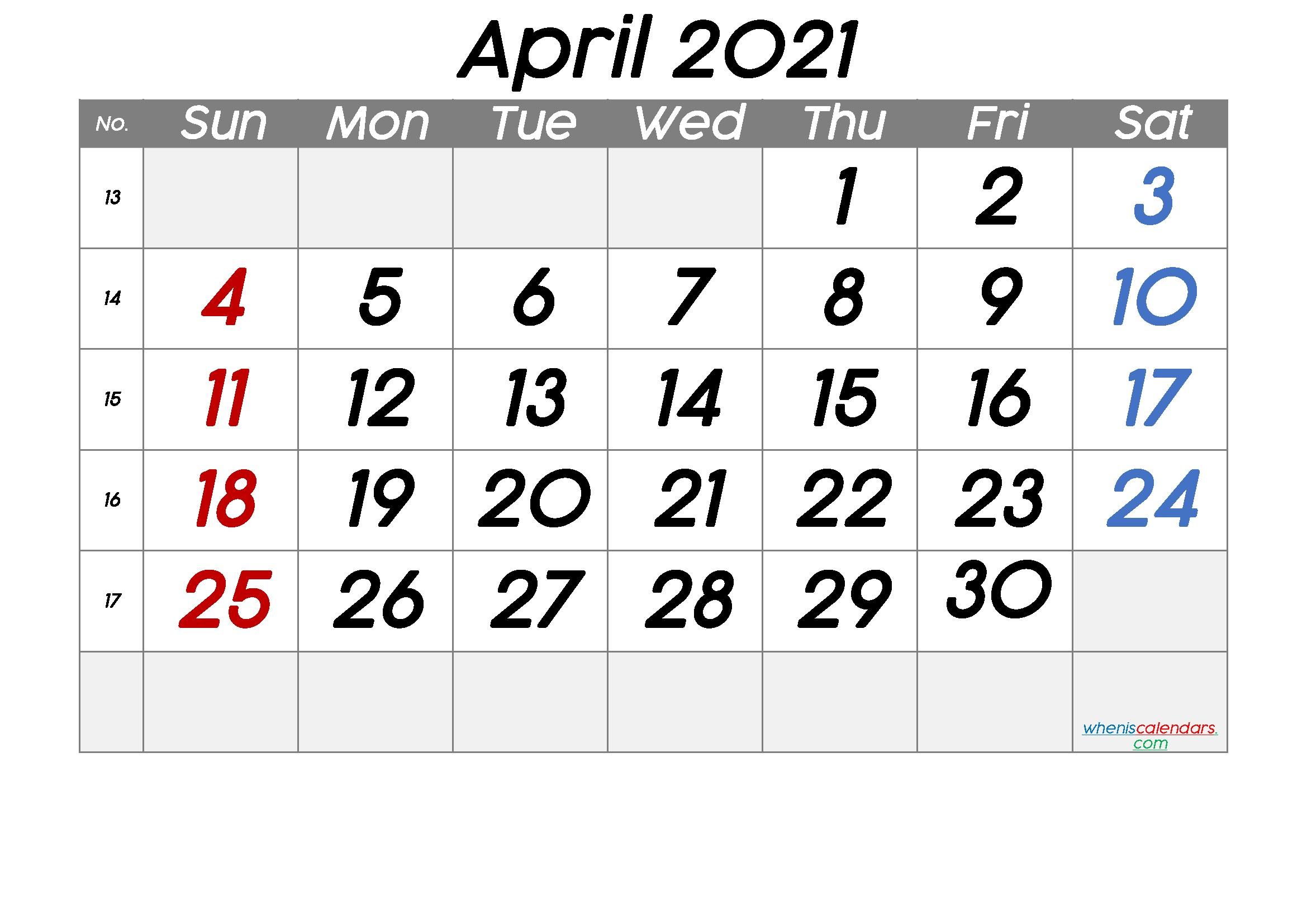Free Printable April 2021 Calendar Premium in 2020