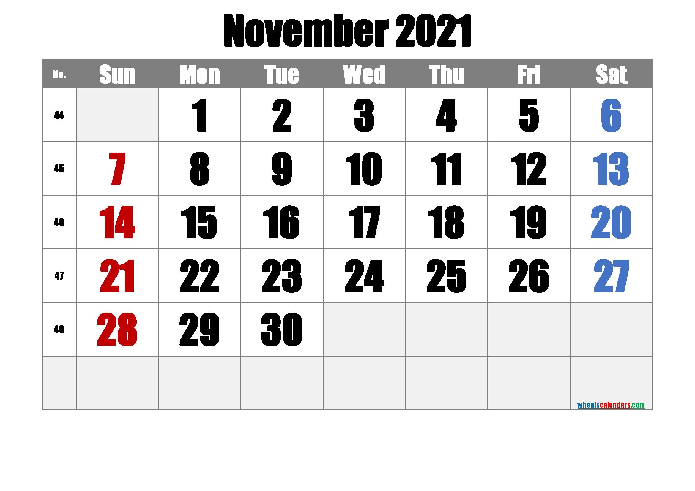 Free Printable November 2021 Calendar Premium in 2020