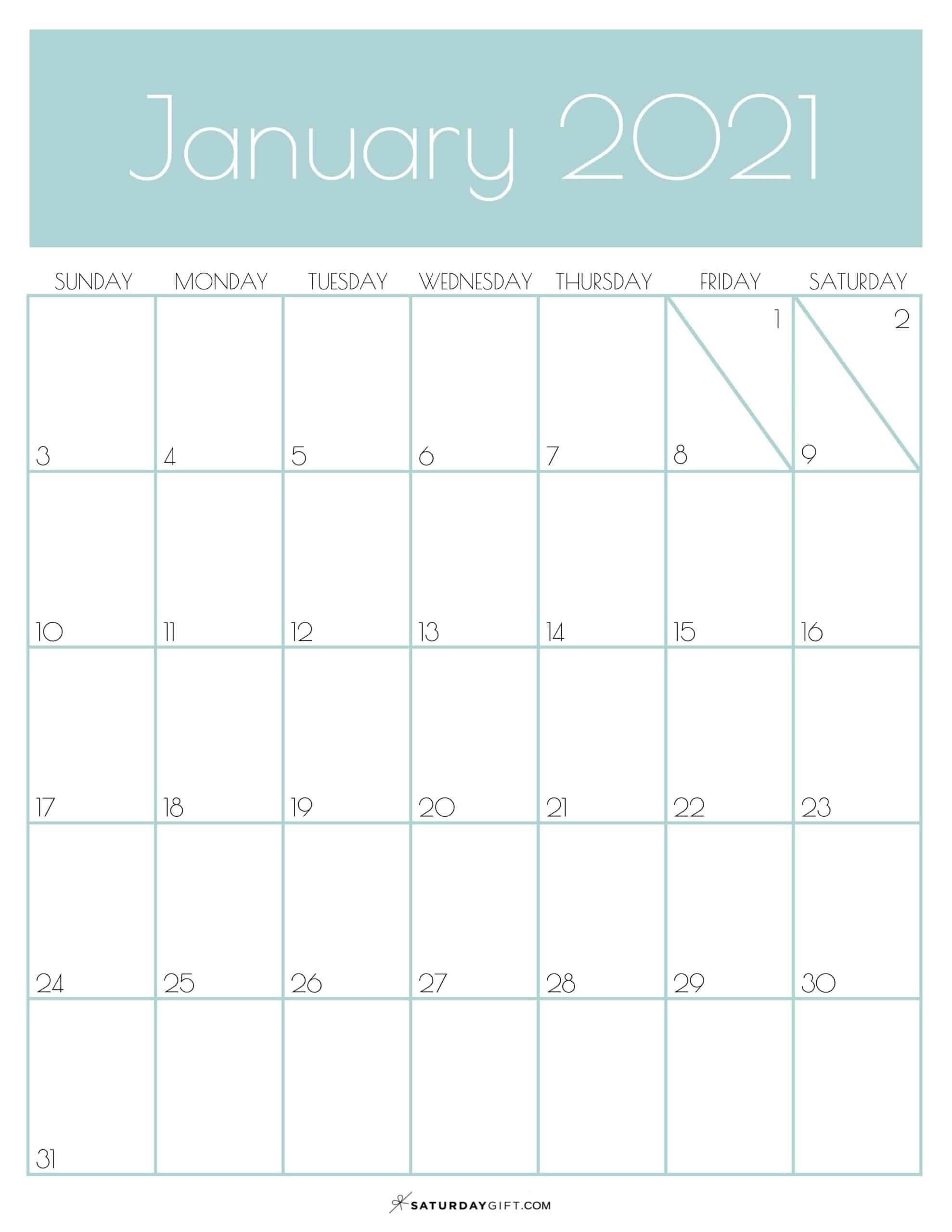 Cute & Free Printable January 2021 Calendar