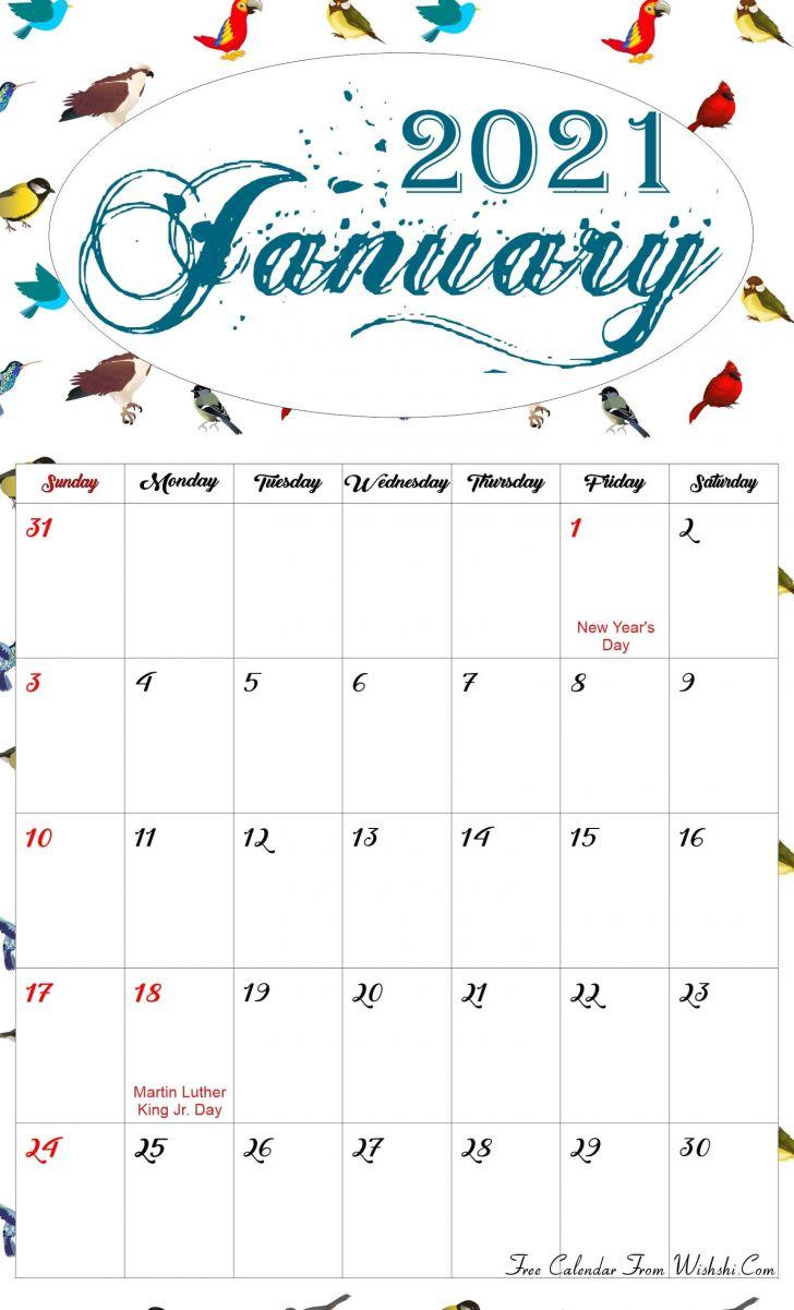 Cute January 2021 Calendar