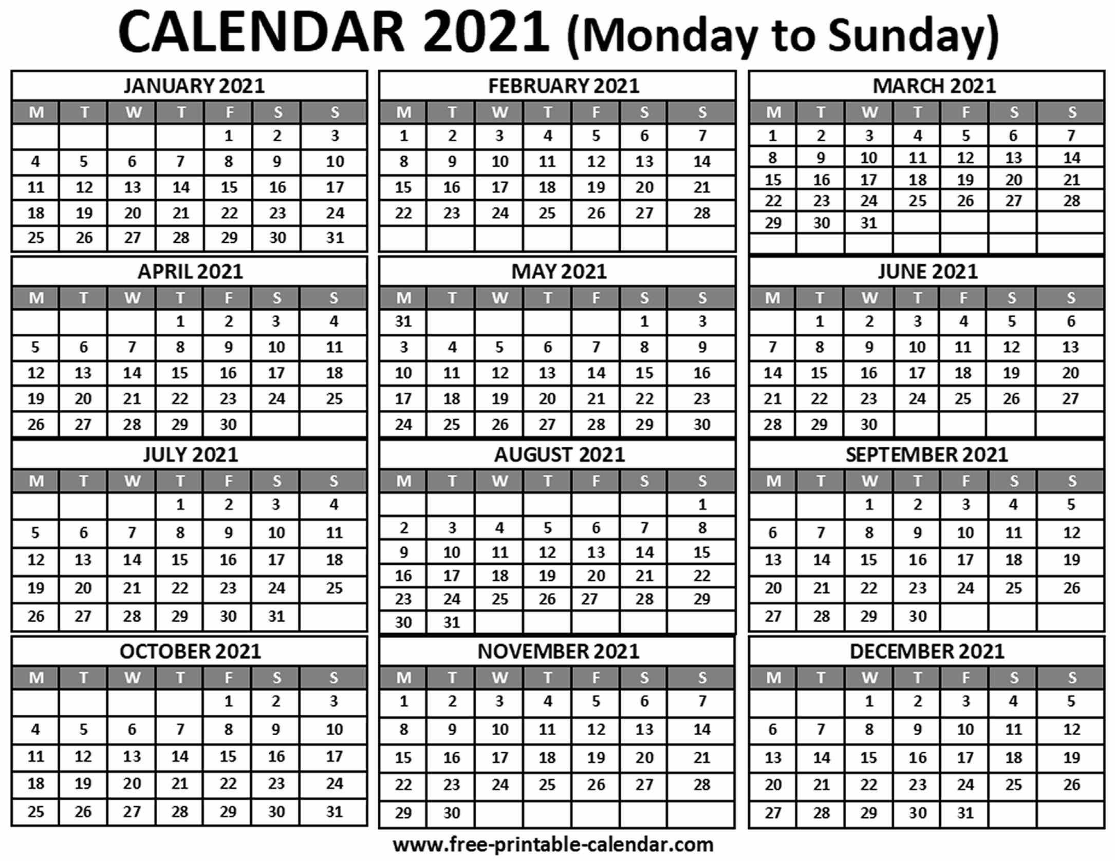 2021 Calendar Free printable calendar