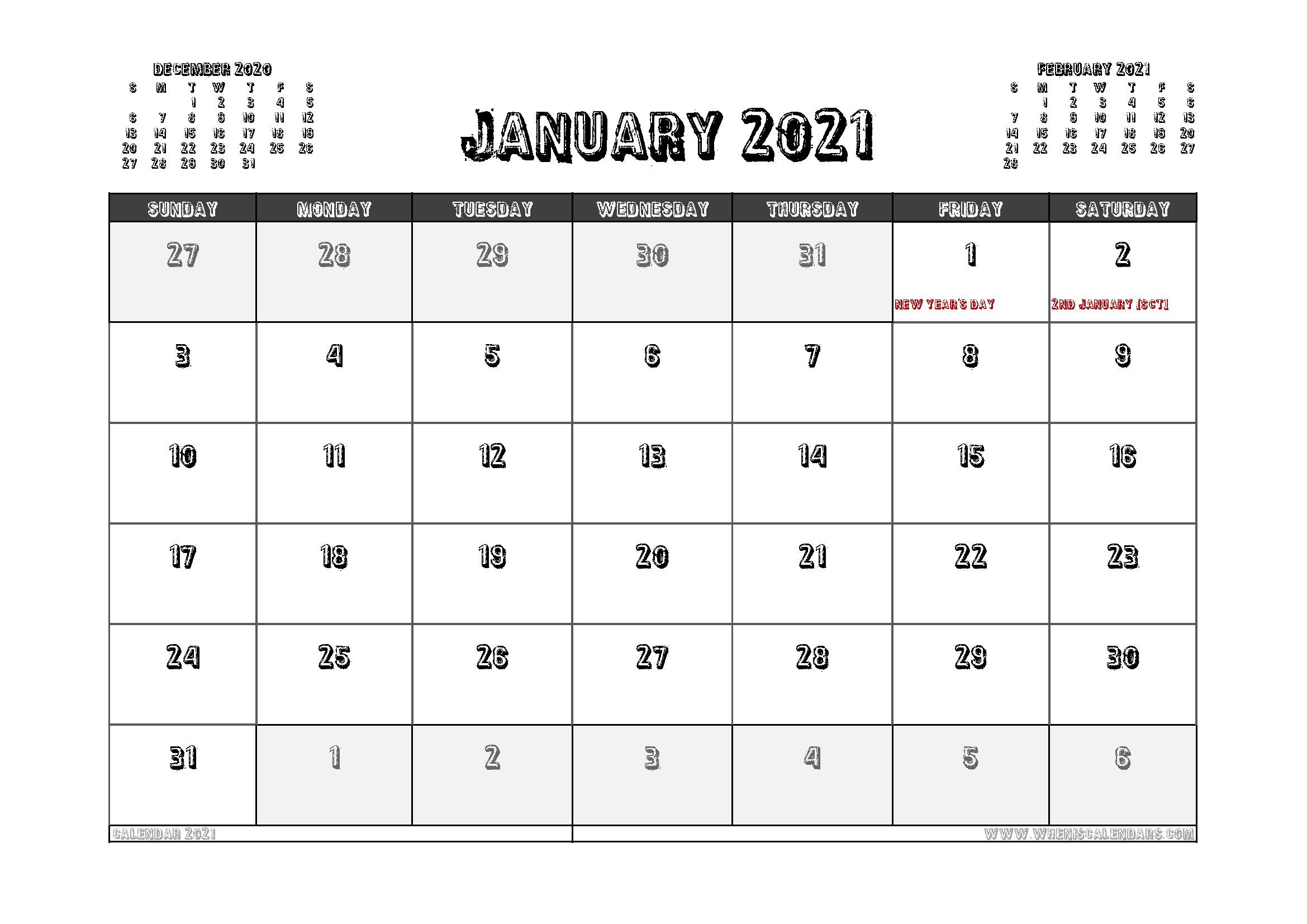 Free Printable January 2021 Calendar UK in 2020