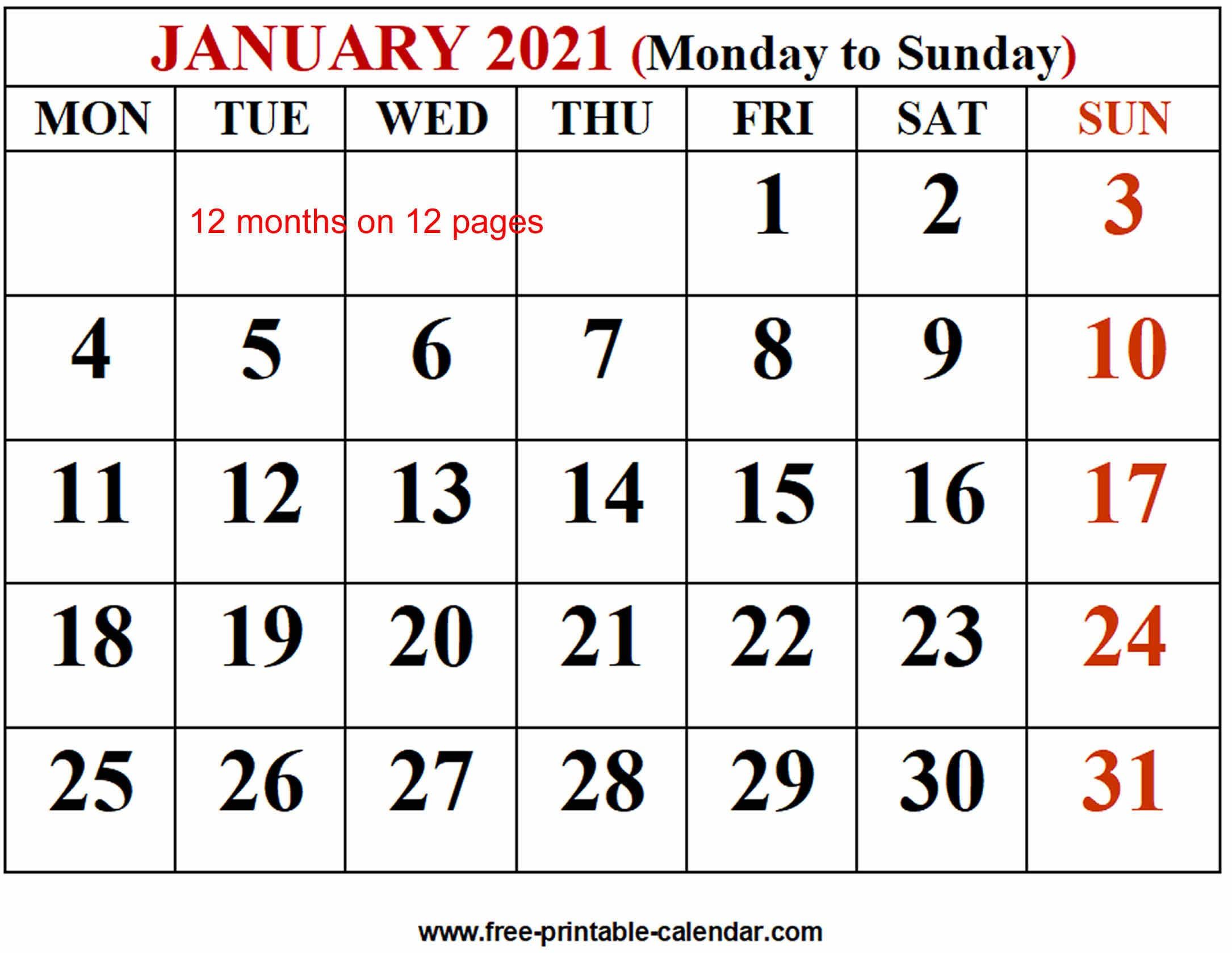 2021 Calendar Template Free printable calendar