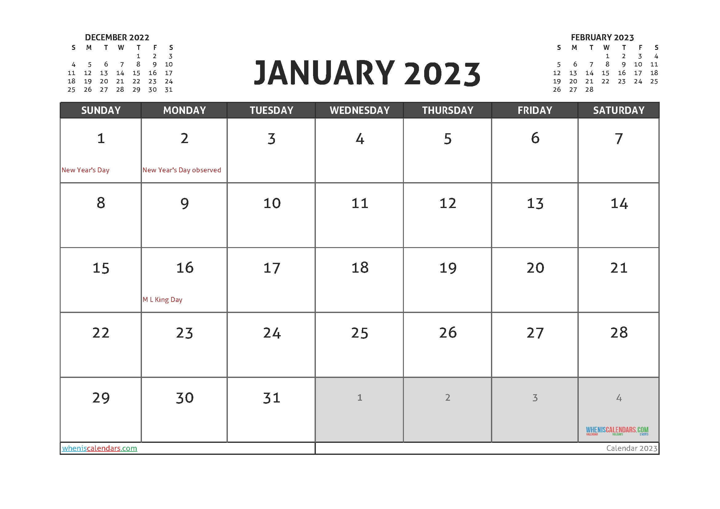 Free Printable January 2023 Calendar – 12 Templates in 2020