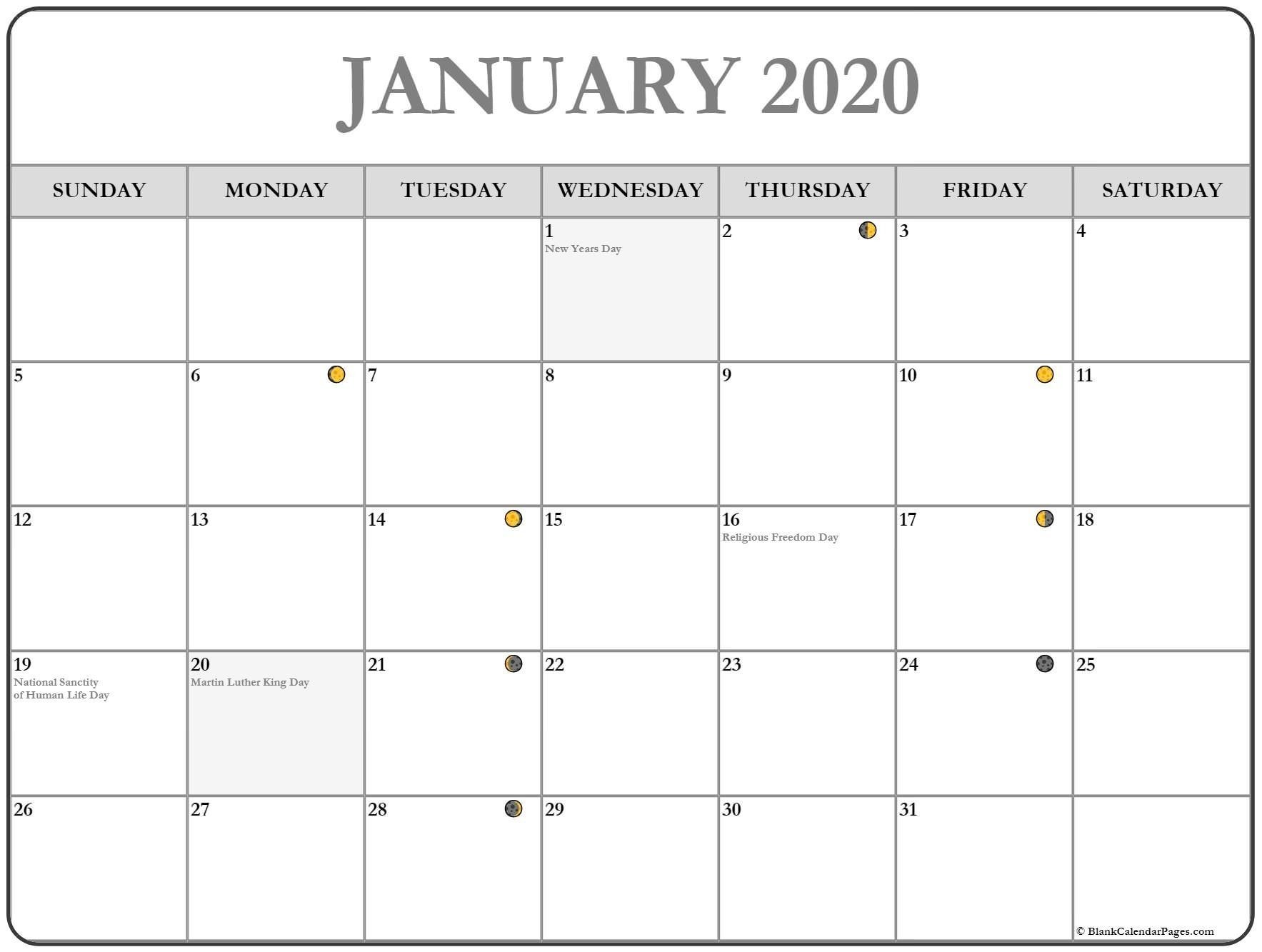 Printable January 2020 Moon Calendar january january2020
