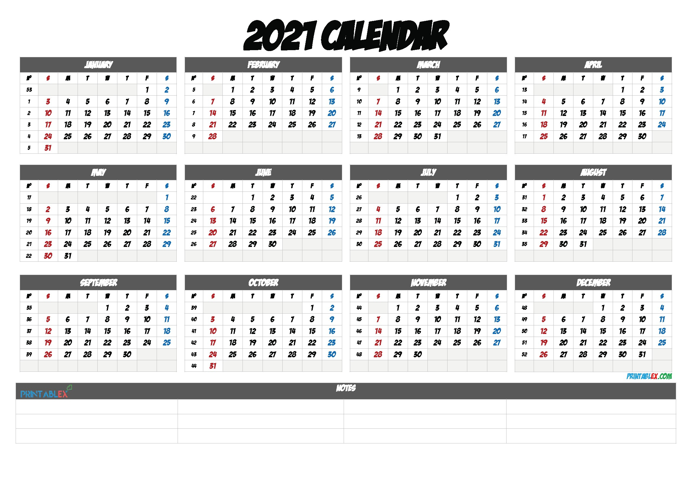 2021 Yearly Calendar Template Word – 21ytw122 in 2020