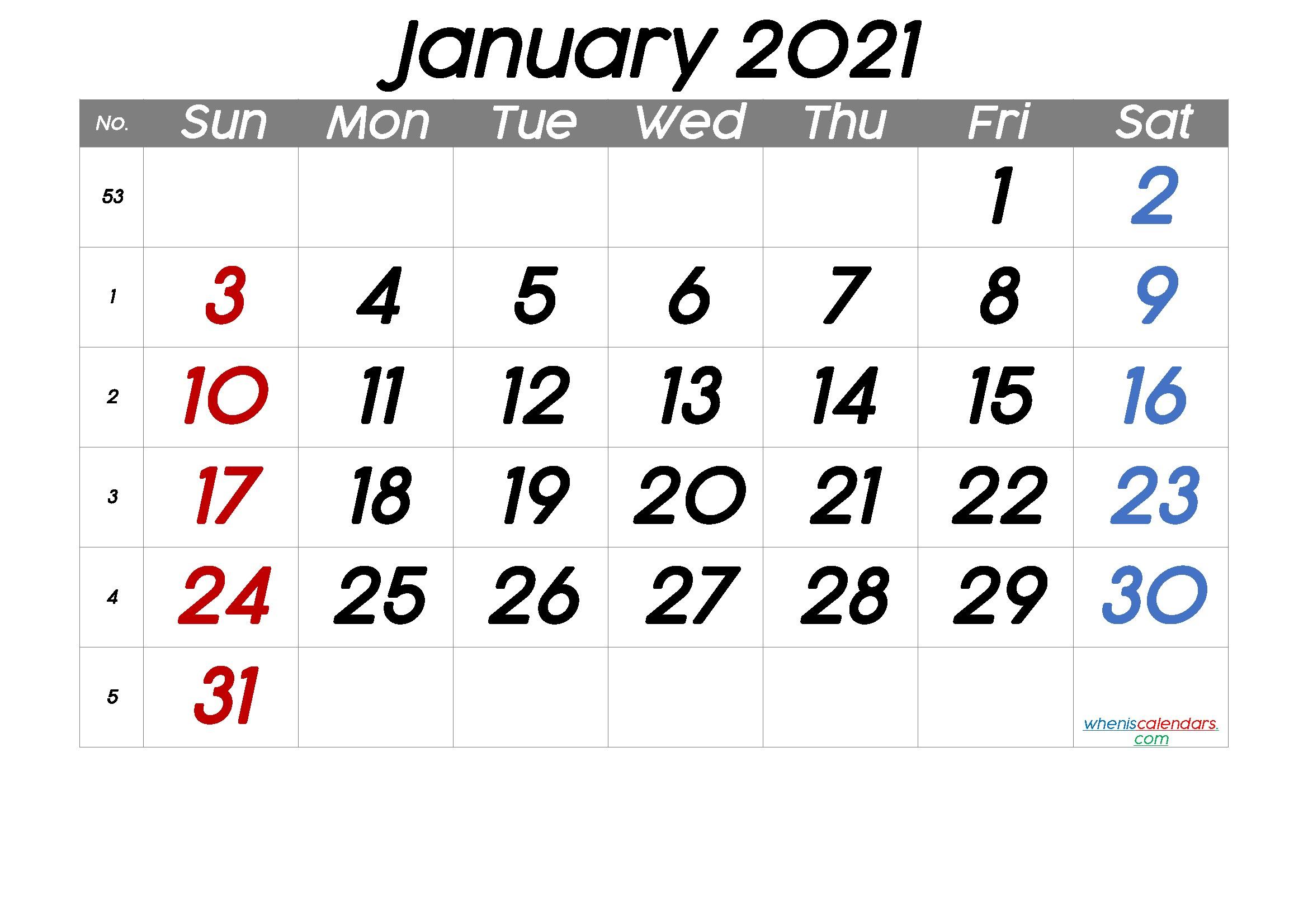 Free Printable January 2021 Calendar Premium in 2020