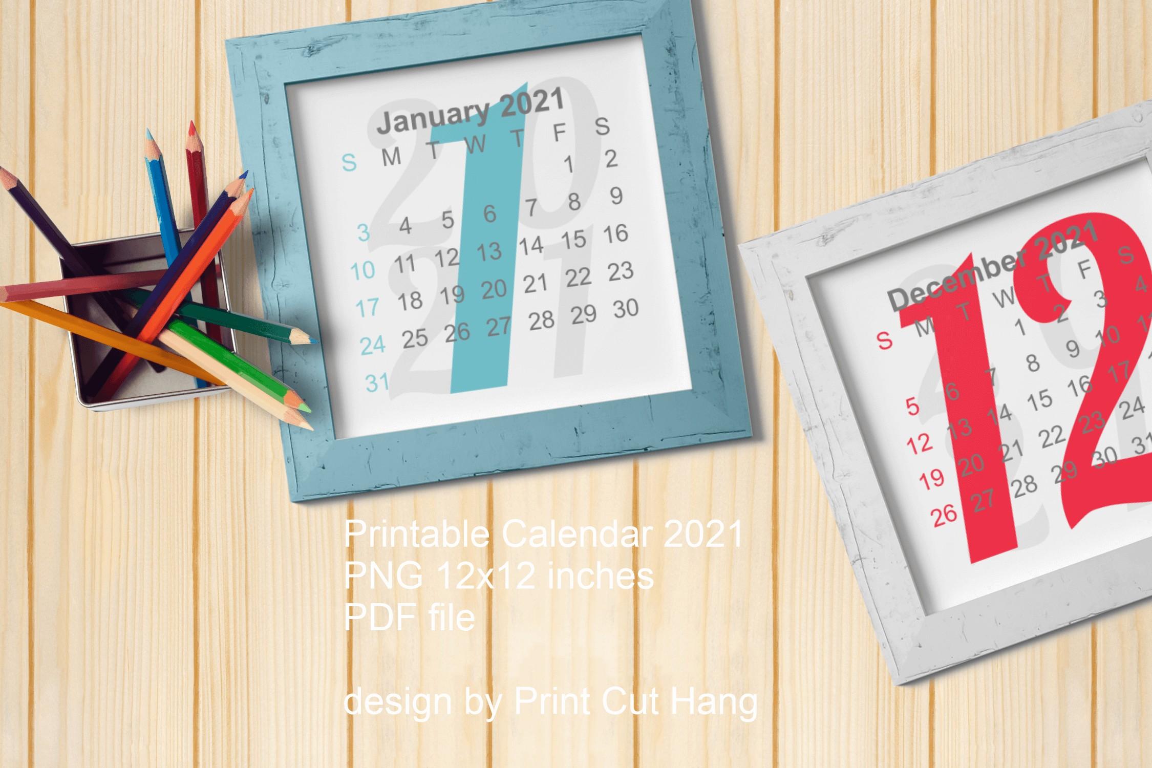 2021 Calendar Cover All Months