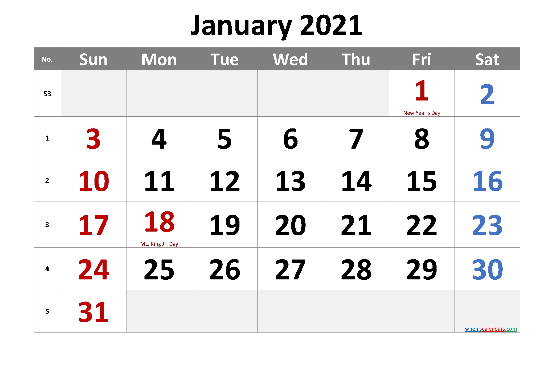 Free Printable January 2021 Calendar with Holidays – Free