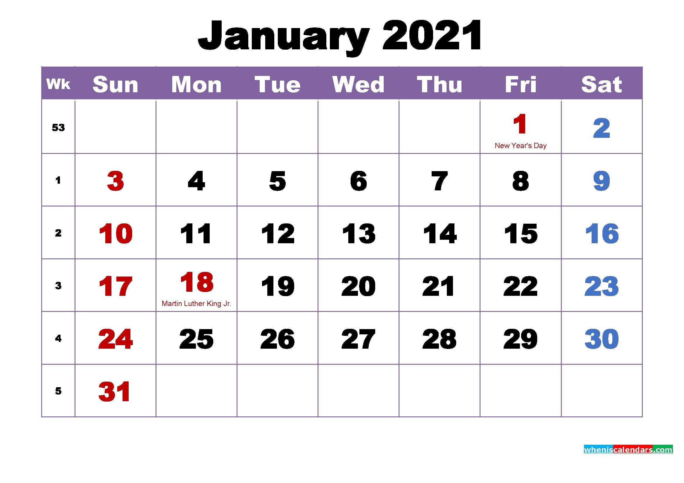 January 2021 Calendar with Holidays Printable – Free