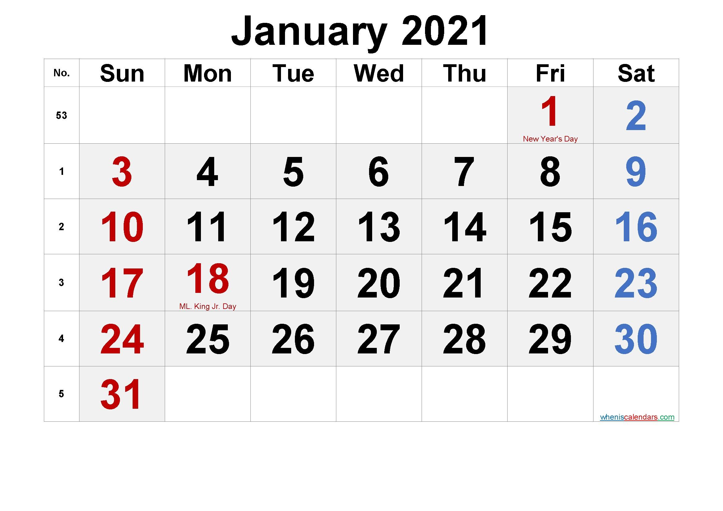 Printable January 2021 Calendar with Holidays – Free 2020
