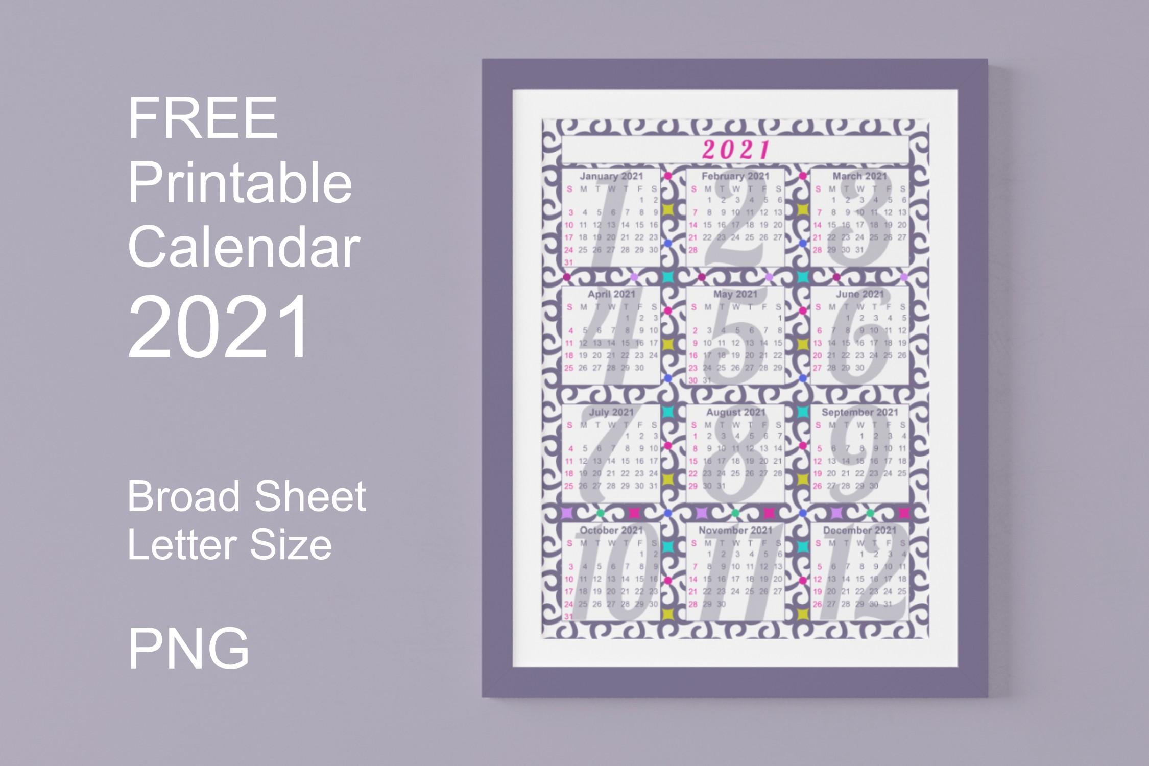 Calendar 2021 Printables Graphic by printt hang