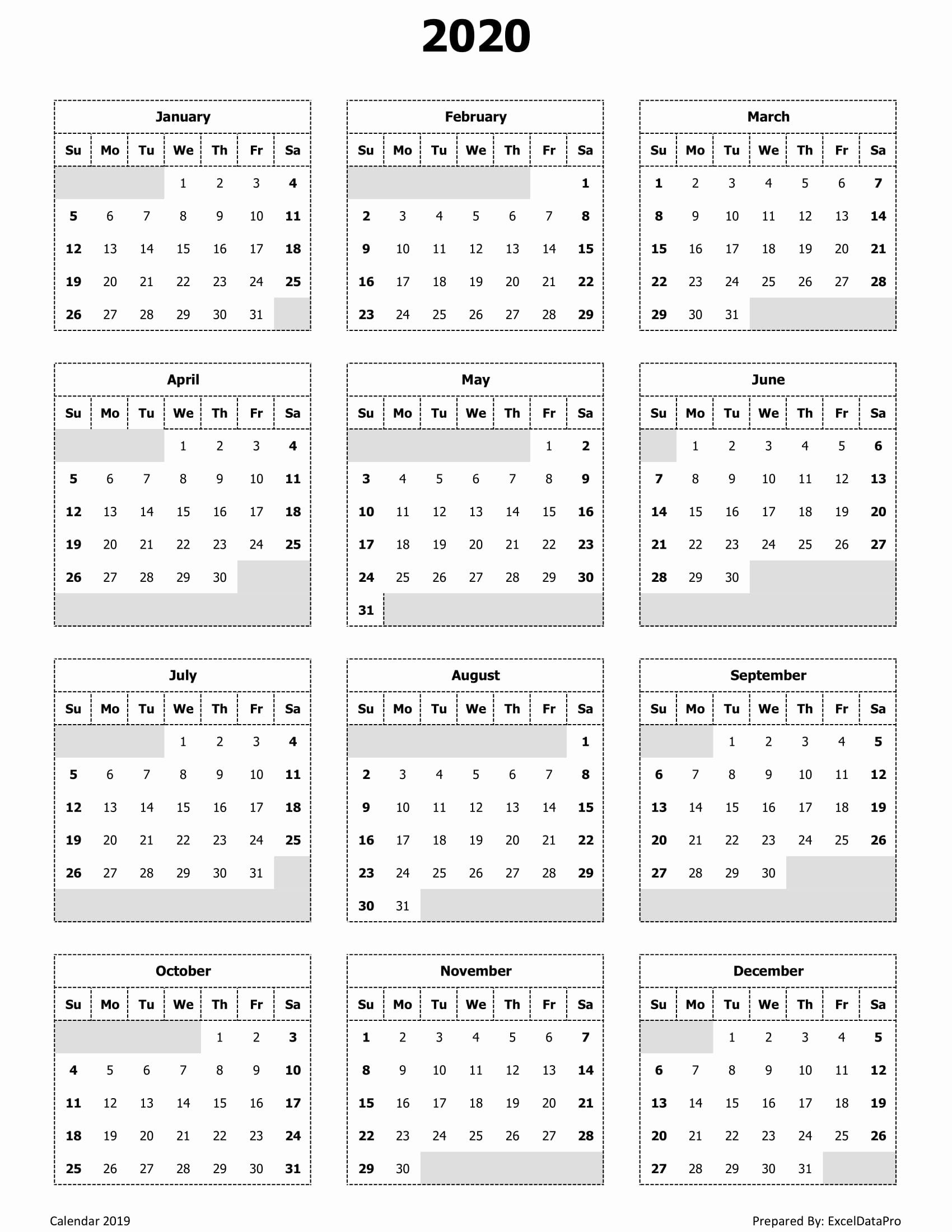 Printable Calendar Pdf in 2020