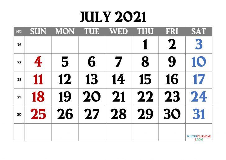 July 2021 Calendar Printable Blank