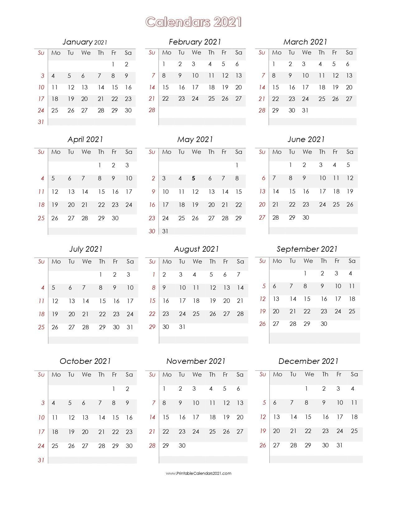 56 Printable Calendar 2021 e Page US 2021 Calendar